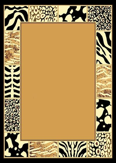 African Mixed Animal Border Skin Area Rug 5ft X 8ft