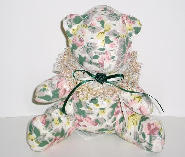 Flower, Floral print chintz fabric stuffed bear, 1992