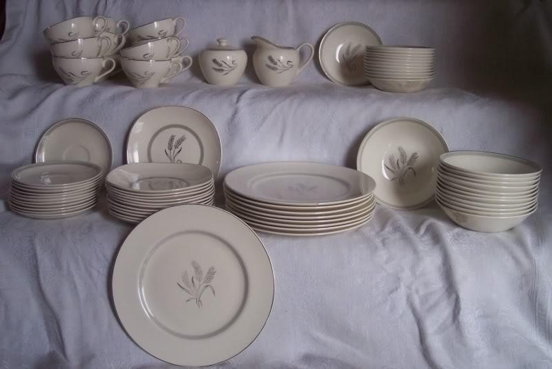 Vintage Dinnerware Set Meakin Silver Wheat Near Complete