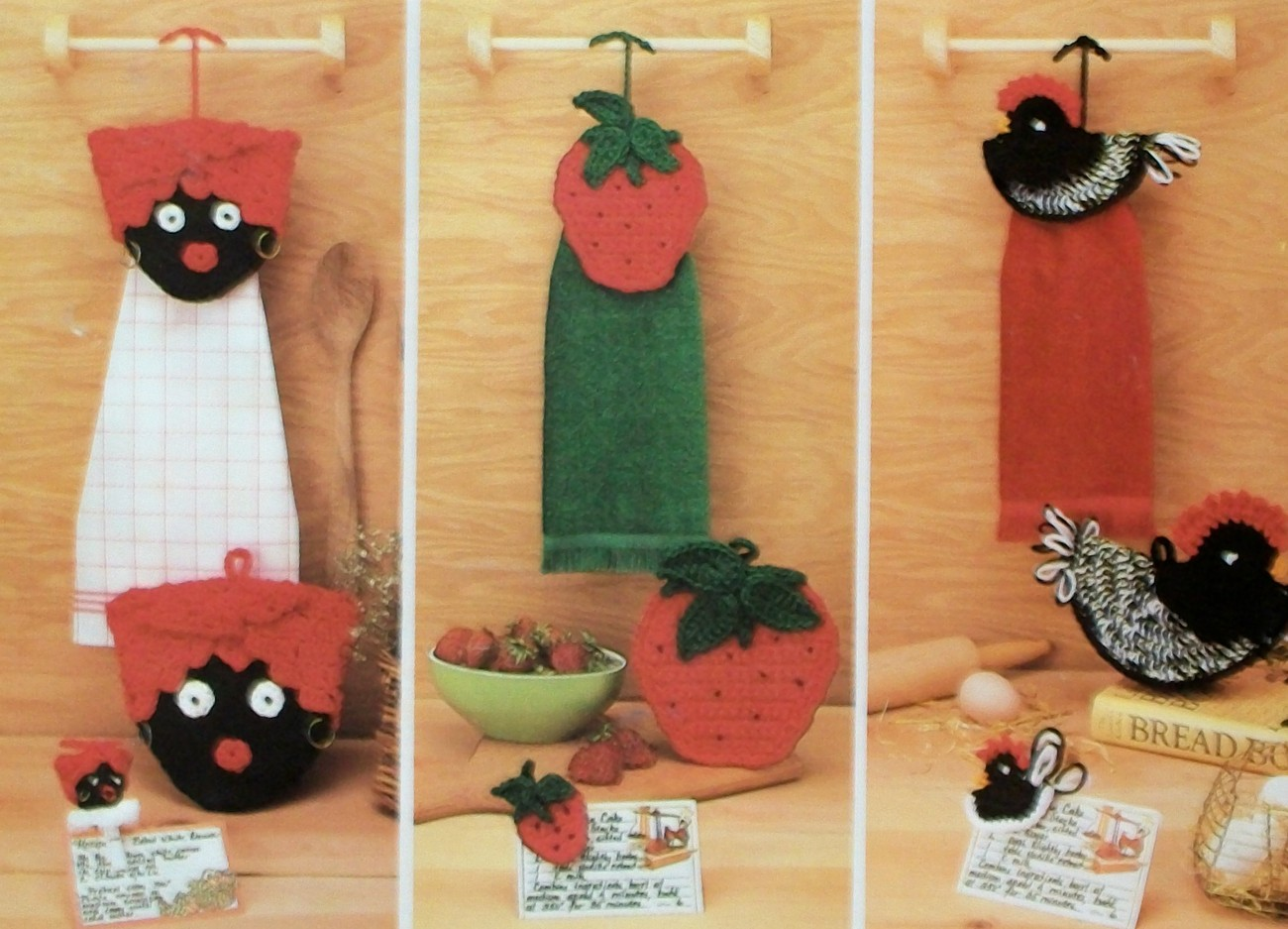Crochet Patterns Kitchen Towels : ... Country Kitchen, 7 Sets w/ Pot & Towel Holder + Magnet Crochet Pattern