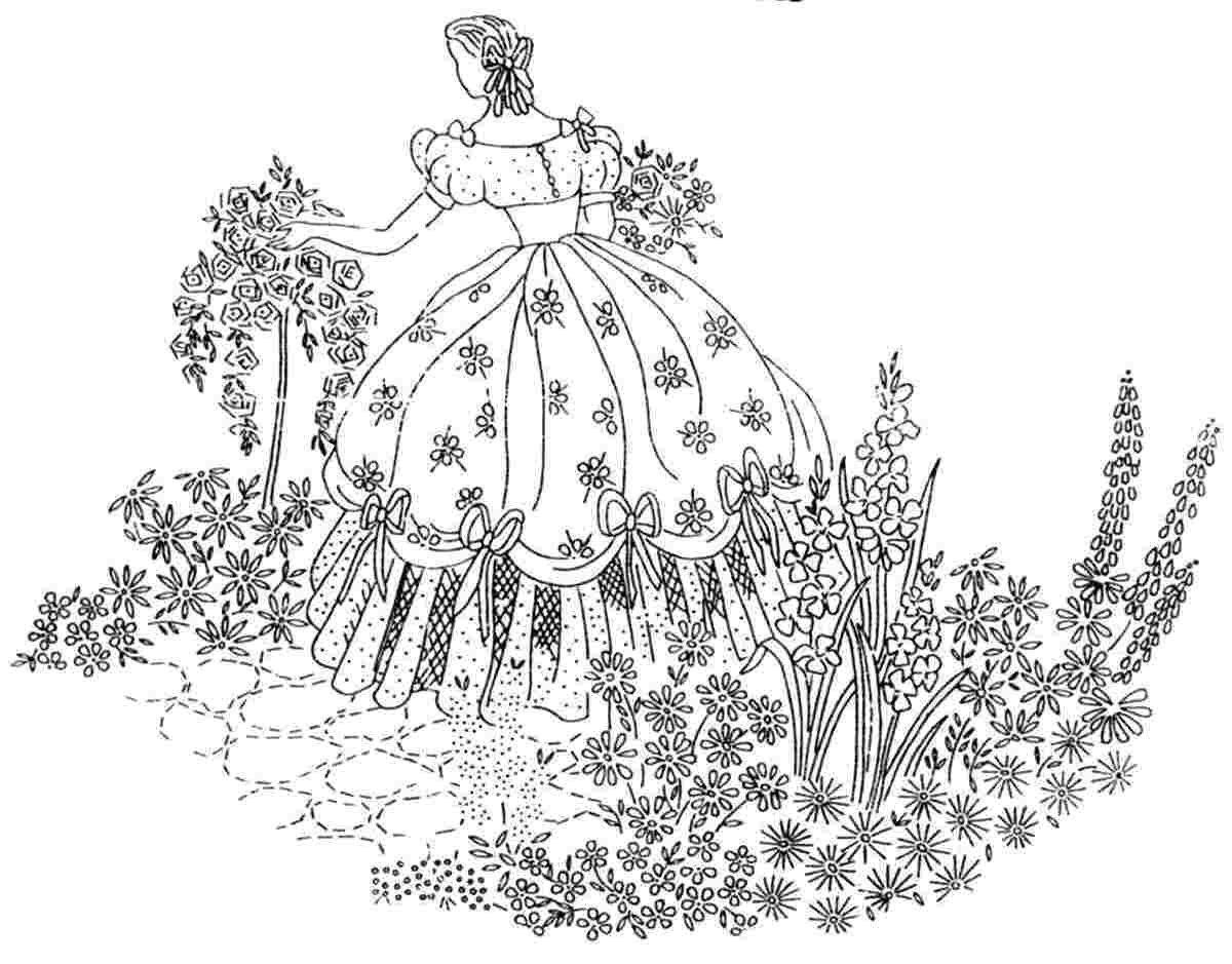 Crinoline lady garden embroidery transfer and similar items