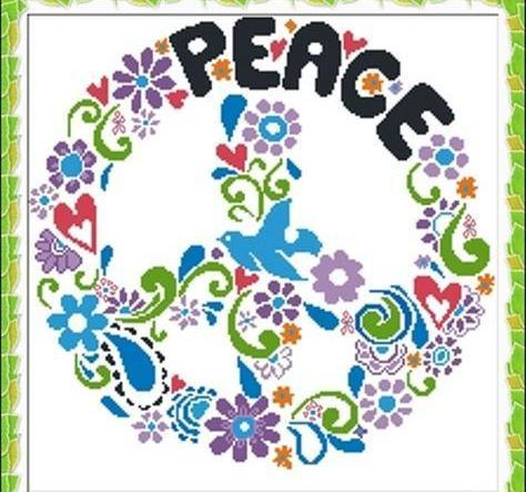 Peace symbol multicolor cross stitch chart Alessandra Adelaide Needleworks