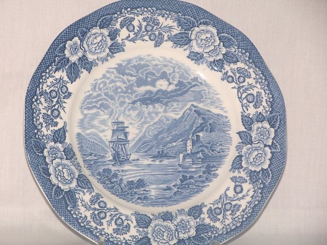 "Royal Warwick Lochs of Scotland Plate ""Loch Oich"" (Blue Transferware)"