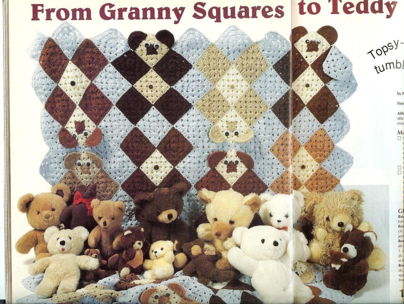 Free Teddy Bear Crochet Afghan Pattern : Darling~Granny Squares Teddy Bear Afghan Crochet Pattern ...