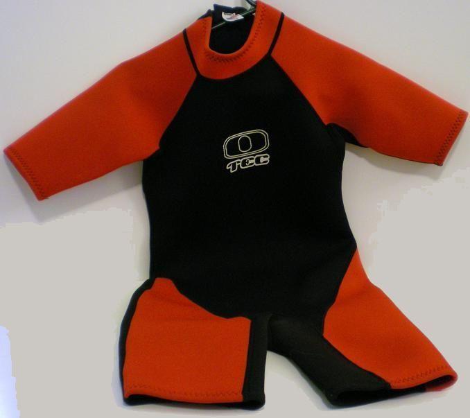 Ocean Tec Junior Shorty Wet Suit Size 12 red black