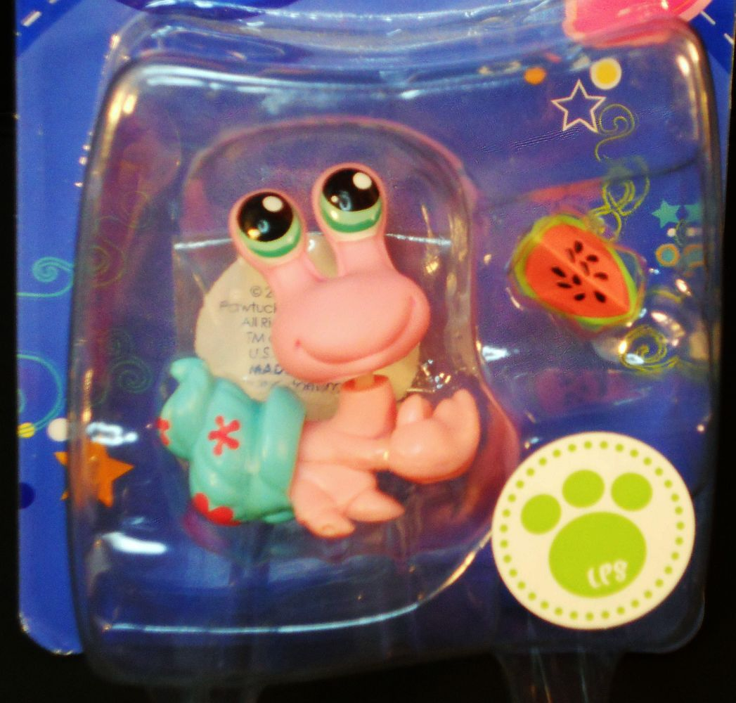 Image 2 of Littlest Pet Shop Hermit Crab with blue shell 1403 watermelon slice