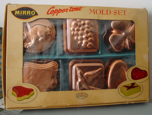 Vintage 1950s Set of 6 Copper Color MIRRO Individual Jello Molds In Original Box