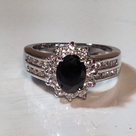Black Sapphire 10KT WGF Ring Size 7