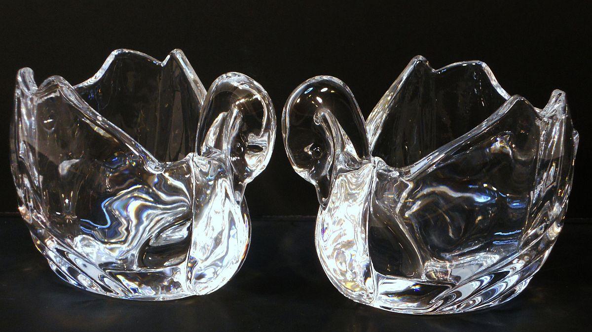 Image 1 of Crystal Swan Votives Shannon by Godinger Set of 2
