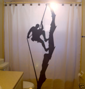 SHOWER CURTAIN Rock Climb Climber rope mountain cliff