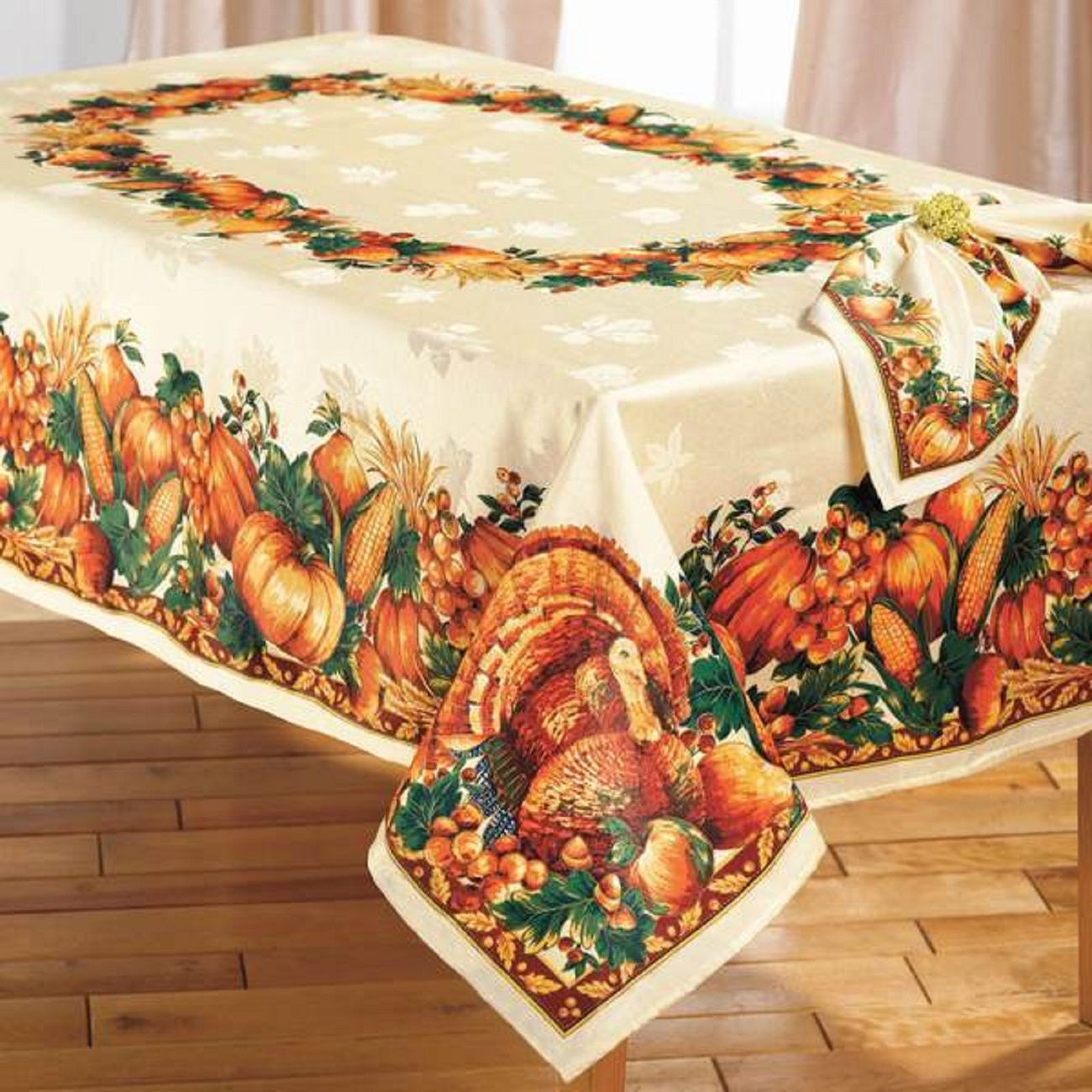 ELEGANT THANKSGIVING TURKEY HARVEST TABLECLOTH Table
