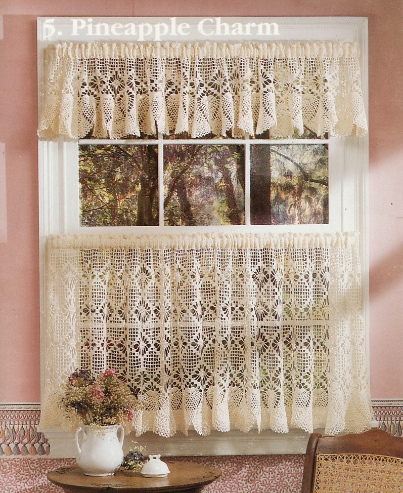 Table Toppers & Cafe Curtains Crochet Patterns Booklet - Home Decor