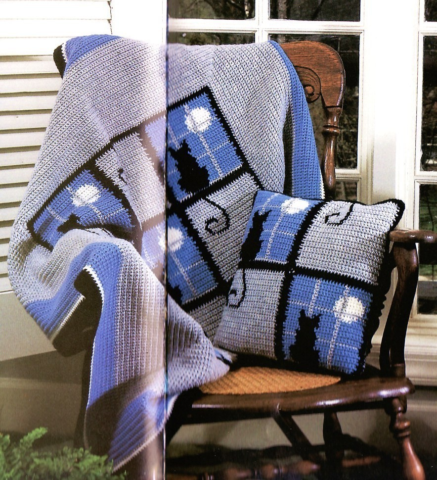 Free Crochet Pattern For Cat Afghan : Snowflakes Afghan Crochet Patterns Cat In The Window ...