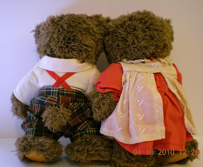 Image 1 of Robert Raikes wood carved teddy Bears Jack and Jill, 1995 COA Ltd Ed