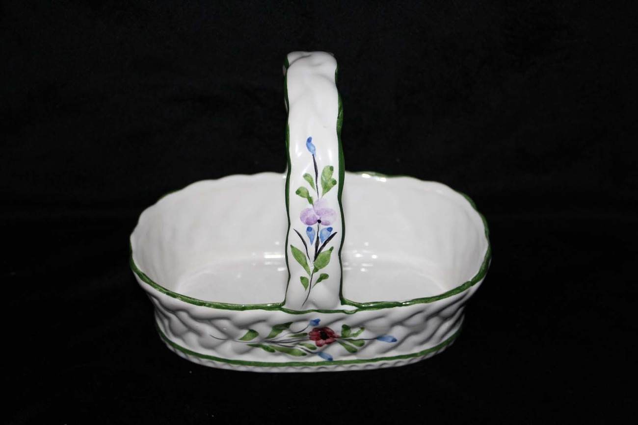 Hand Painted RC&CL Pottery Basket Floral Portugal