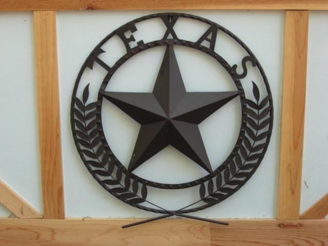 Round Wall Plaque Metal Texas Sign Star Indoor Outdoor
