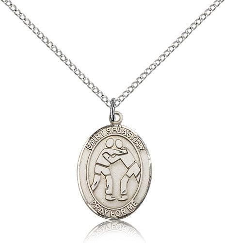 sterling silver st sebastian medal 18 inch