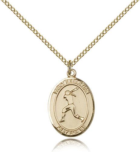 gold filled st sebastian softball medal 18 inch