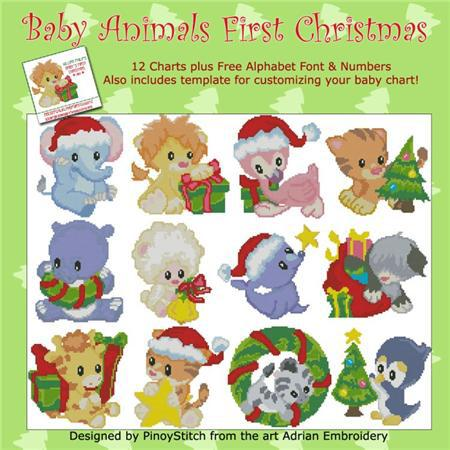 Baby animals first christmas cross stitch chart pinoy for Christmas pictures of baby animals