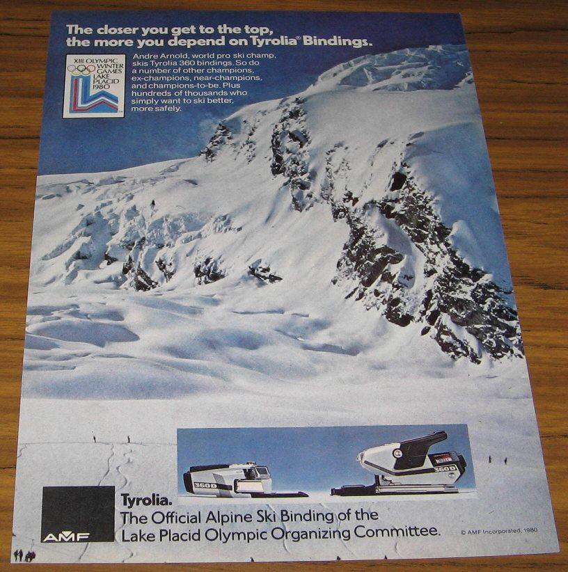 1980 VINTAGE AD~TYROLIA 360 SKI BINDINGS~OLYMPICS 1980
