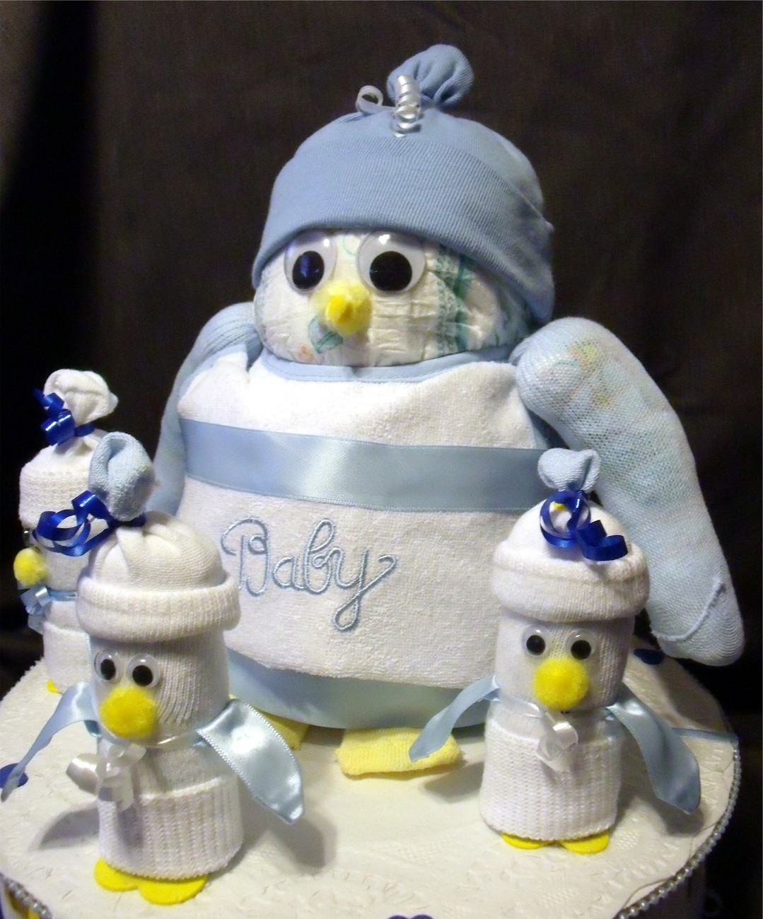 blue diaper penguin baby shower gift boy diaper cake decorat diaper