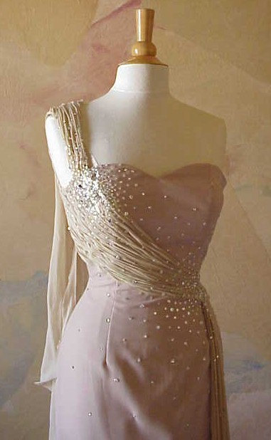 Style 1071 / Beaded Dress / One Shoulder Pageant Gown / Designer Evening Wear /