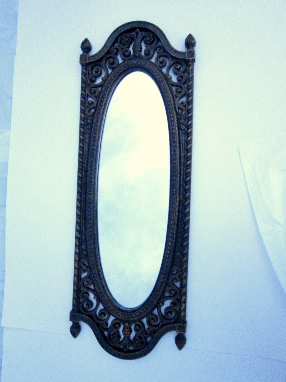 Framed mirror 1973 homco long oval ornate antique style for Long antique mirror
