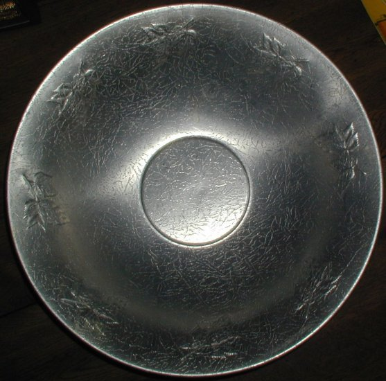 West Bend Aluminum Bowl Grape & leaf Design 14 inch Diameter