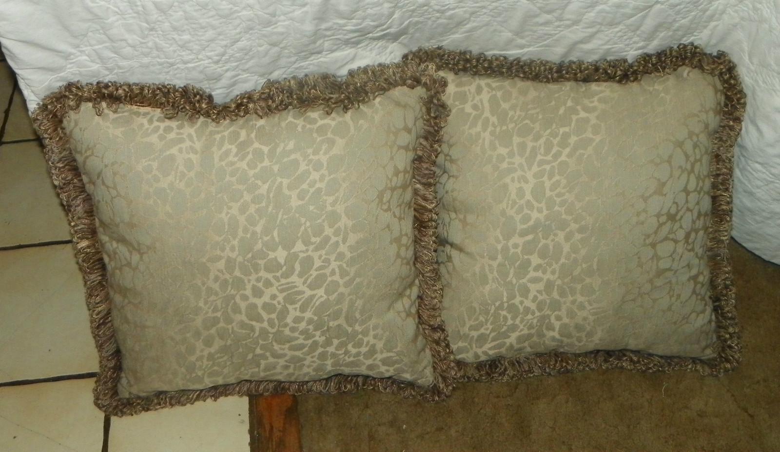 Burgundy Print Throw Pillows : Pair of Burgundy Beige Brown Print Throw Pillows - Pillows