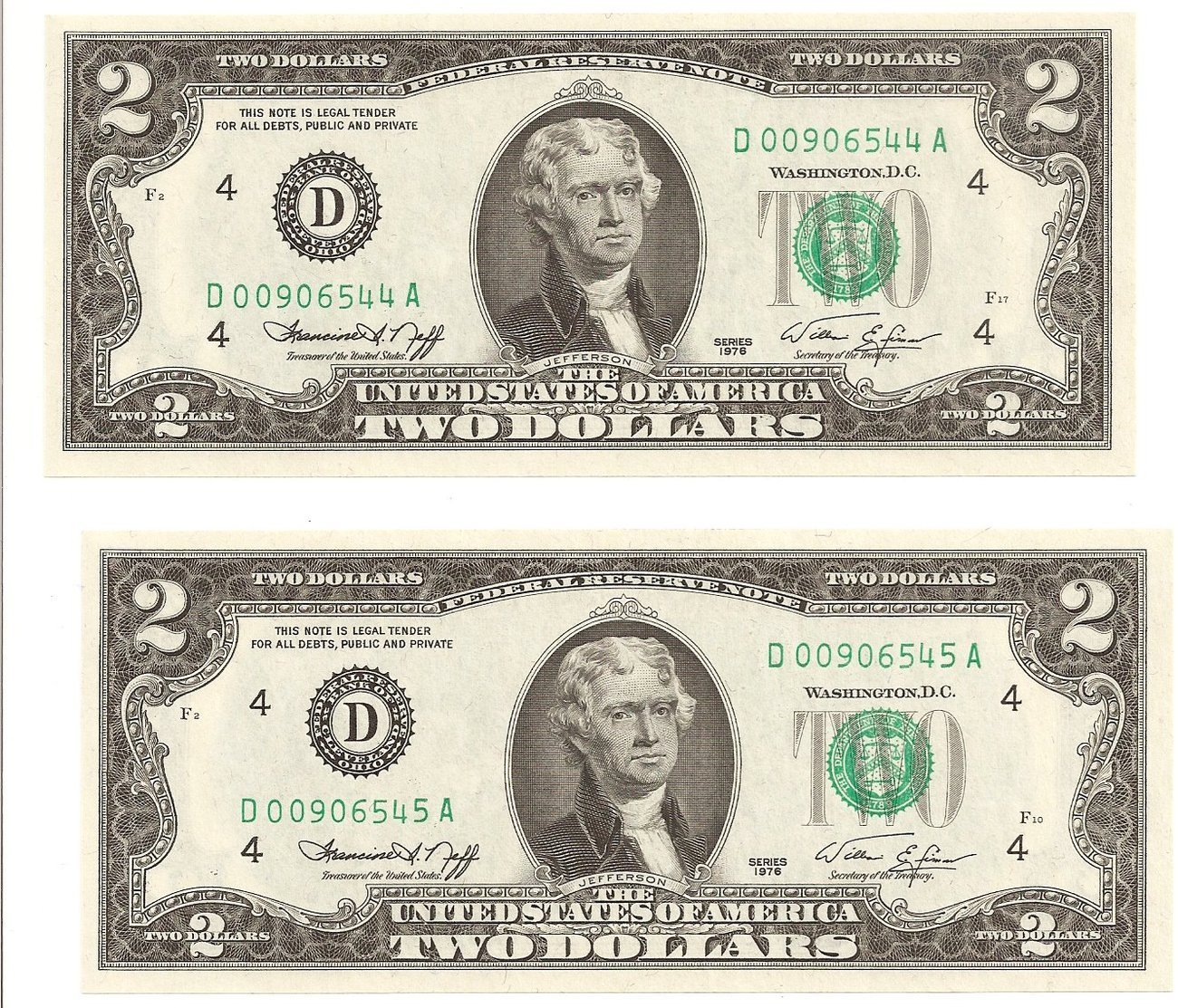 1976 $2 Dollar Bills 2 Uncirculated Sequence