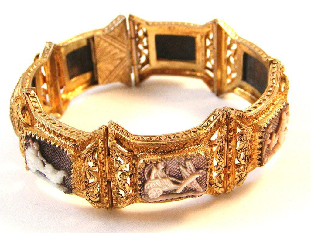 Victorian Etruscan 800 Sterling Silver Gold Vermeil Cameos Bracelet
