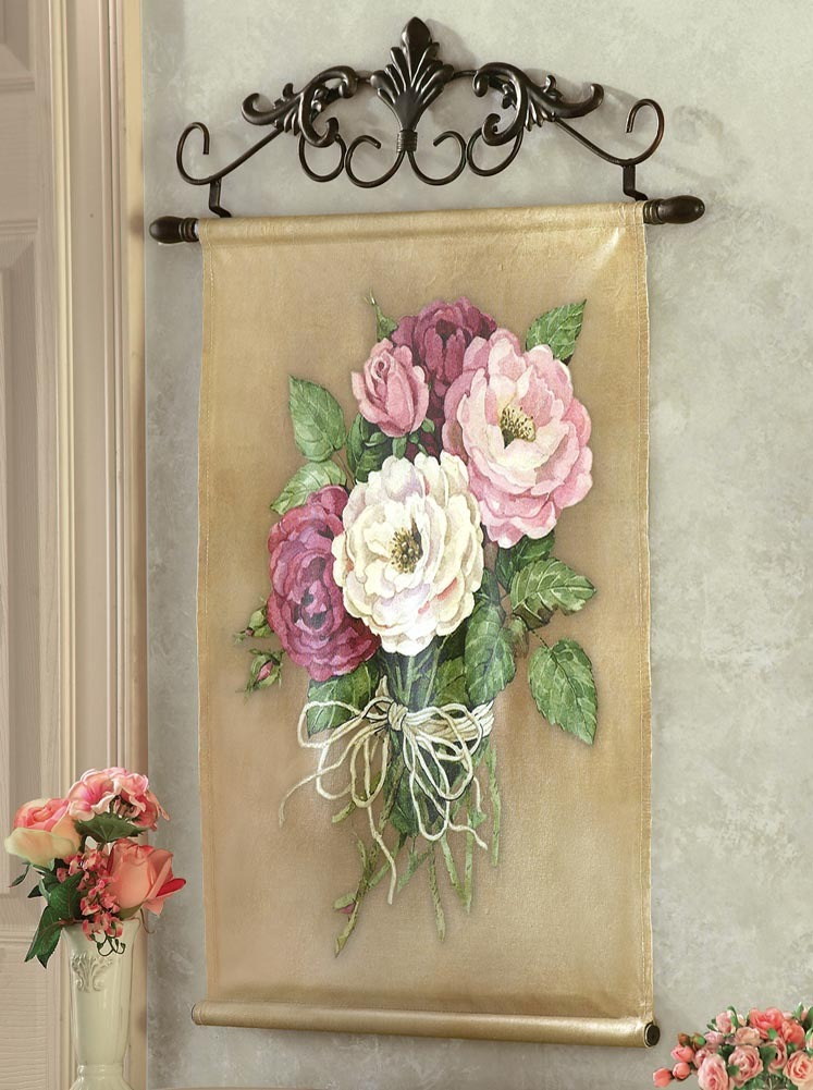 Victorian chic rose canvas scroll work wall art other for Victorian wall decor