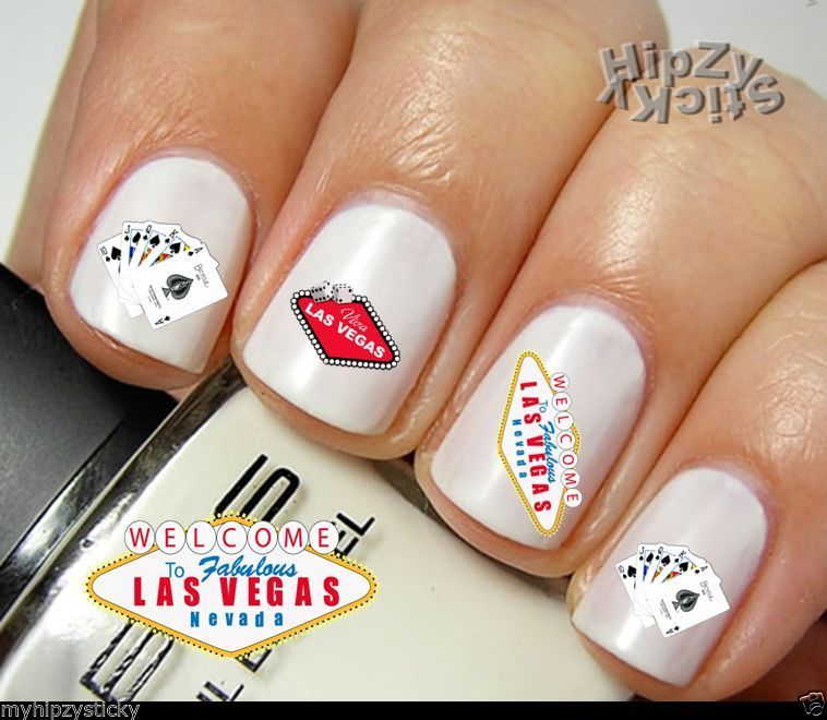 """""""Welcome to Las Vegas"""" 20 Decals 3 Styles Hip & Best Water Slide Nail Art Decals"""