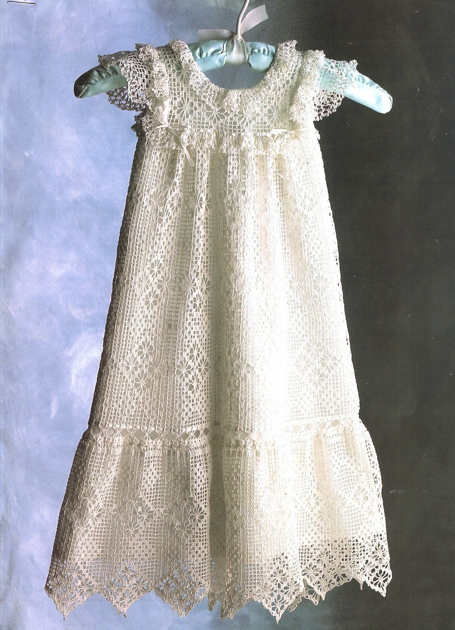 Antique Baby Dress Crochet Pattern Gown Infants Lace
