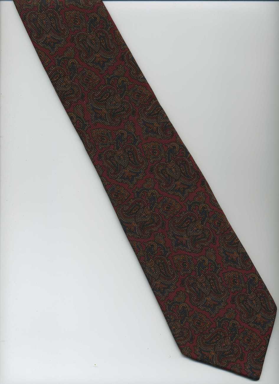 lands end tie maroon black brown paisley