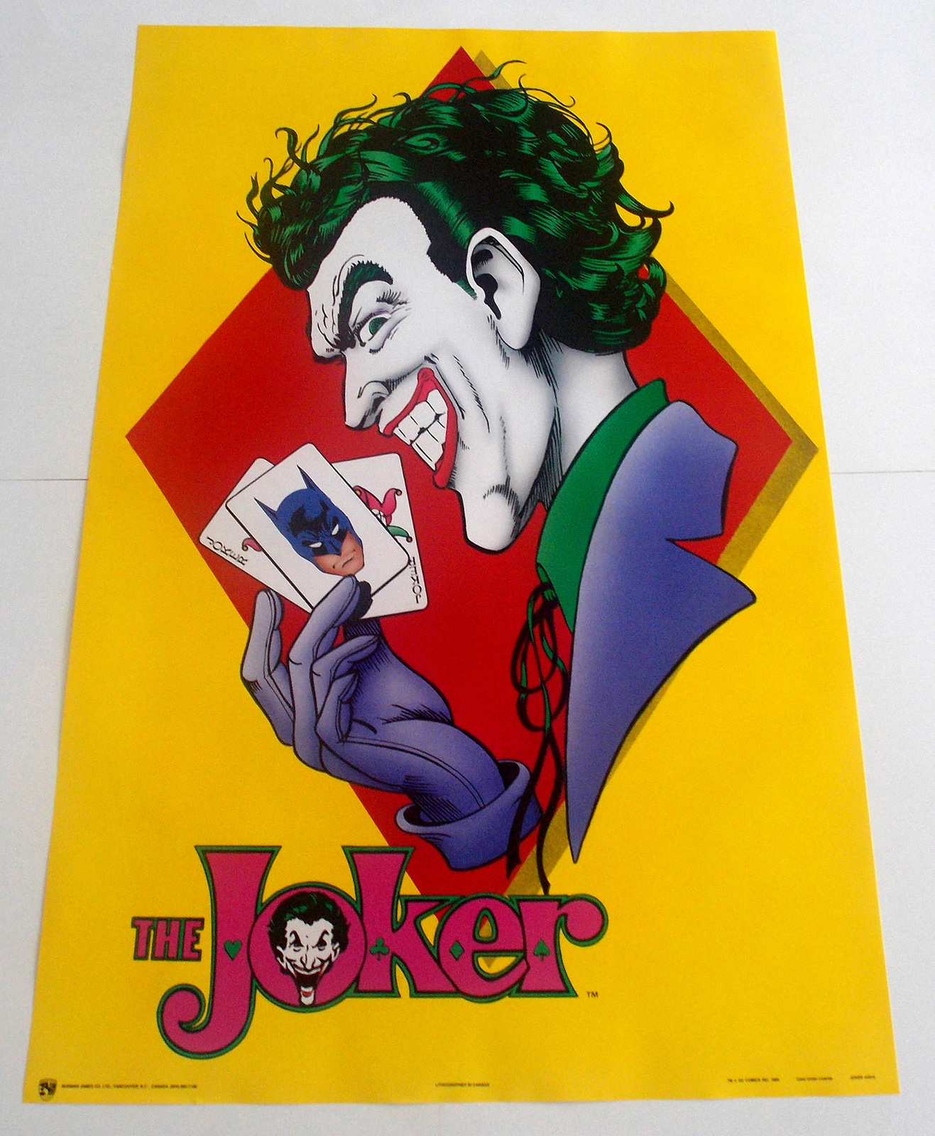 THE JOKER POSTER FROM 1989 DC COMICS, BATMAN VINTAGE AND