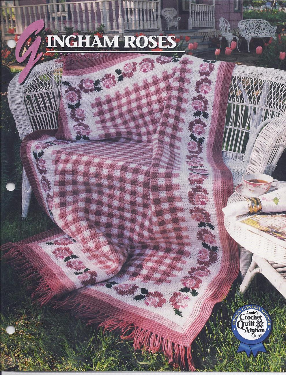 Gingham Roses Afghan Crochet Pattern~Annies Quilt ...