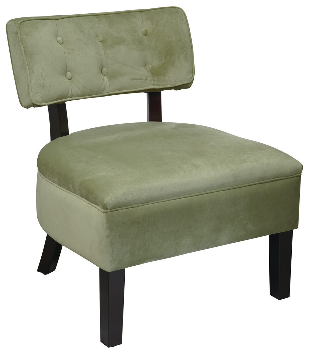 Avenue Six Button Back Living Room Armless Accent Chair Spring Green Fabric