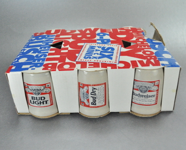 1991 Budweiser Six Pack Mini Shot Glass Beer Mug Steins