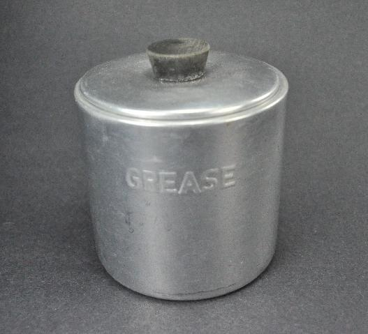 Vintage Aluminum Kitchen Grease 2 cup Container Canister
