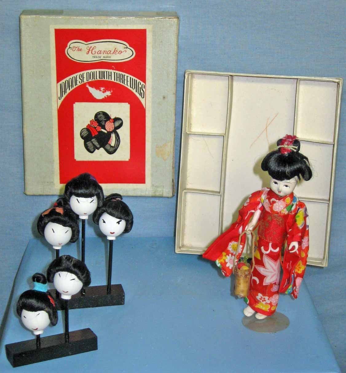 Japanese Doll With Three Wigs - The Hanako Trademark - Vintage
