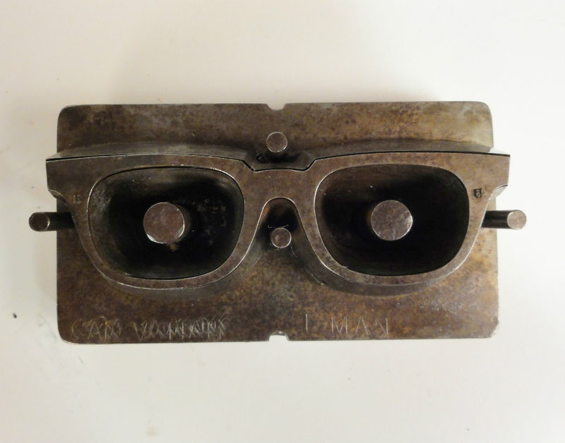 "RARE 1960's INDUSTRIAL MACHINE AGE ""NICKY GLASSES' STEEL EYEGLASS MOLD"