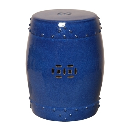 Cobalt Blue Ceramic Garden Stool Or Side End Table