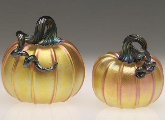 Lundberg Studios Pumpkins Art Glass Sculpture