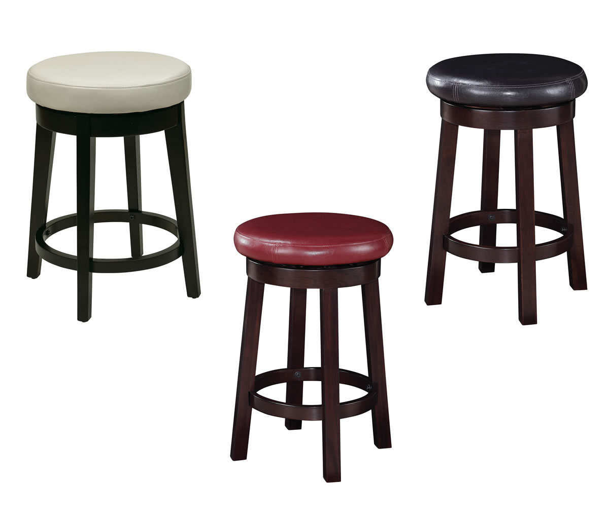 24 Inch High Seat Round Barstool Faux Leather Wood Stool