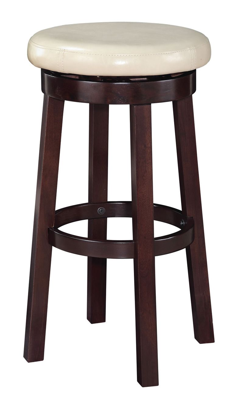Round Wooden Bar Stools ~ Inch high seat round barstool faux leather wood stool