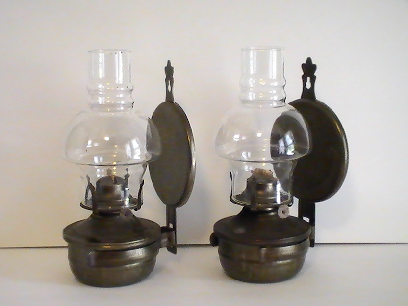 Wall Mounted Kerosene Lanterns : Oil Lamp Vintage Rustic Metal Wall Mounted Set of 2 - Oil