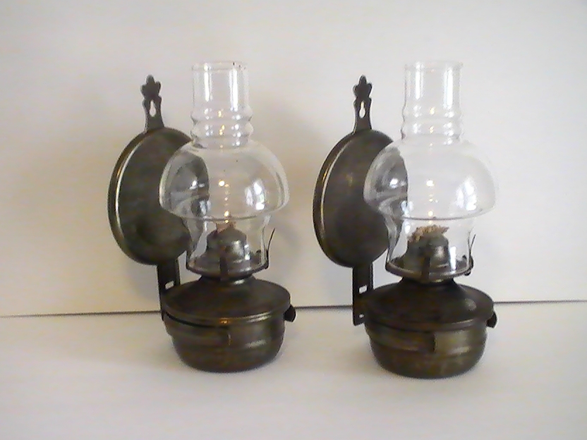 Wall Mount Lamp Set : Oil Lamp Vintage Rustic Metal Wall Mounted Set of 2 - Oil