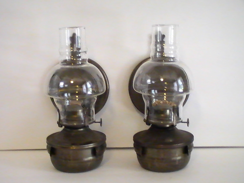 Wall Hung Oil Lamps : Oil Lamp Vintage Rustic Metal Wall Mounted Set of 2 - Oil