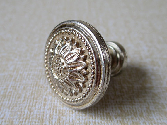 Dresser knob drawer knobs pulls handles antique silver sun for Small cabinet pulls